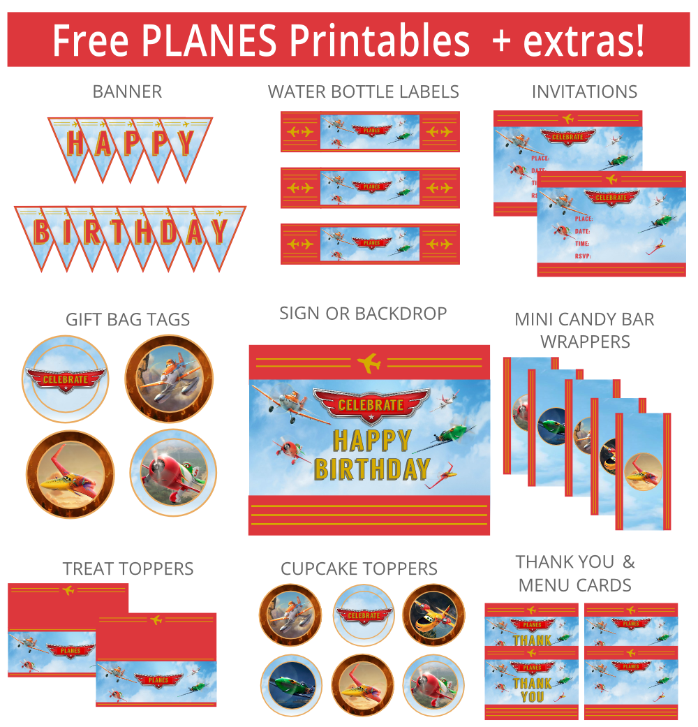 Printable Vintage Airplane Party Collection Diy By: The Free Printable Planes Party Set Includes Invitations
