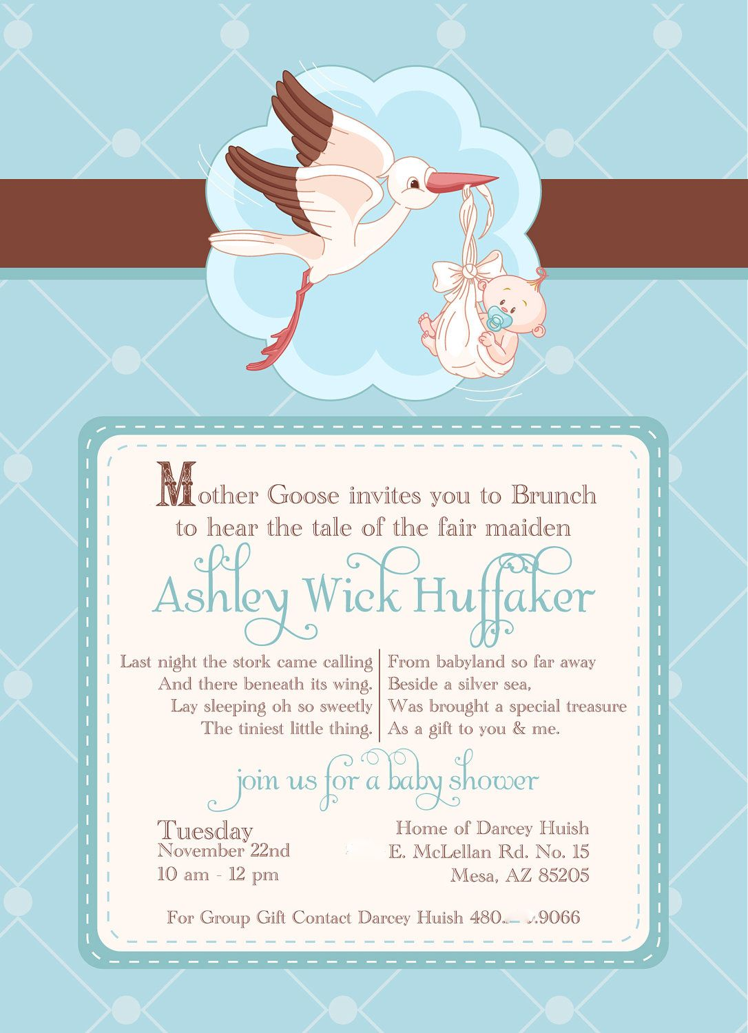 Baby shower invitation 25 printed mother goose in blue brown baby shower invitation 25 printed mother goose in blue brown 4000 via filmwisefo Images