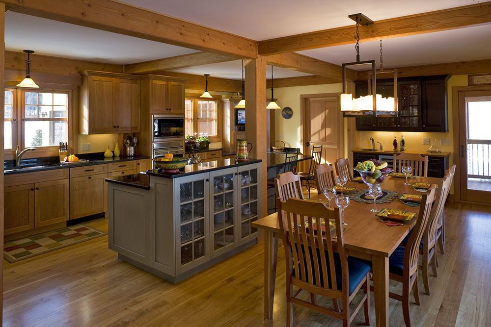 Open Concept Kitchen Idea In Natural Design I Love The Warmth And The Exposed Beams For The