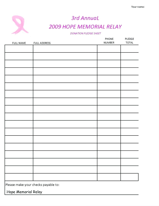 Fundraising Sheet Template Verypage Regarding Church