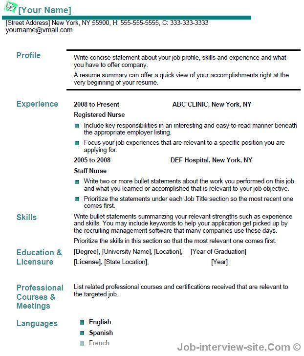 Nursing Resume Sample porglalk Pinterest Nursing resume