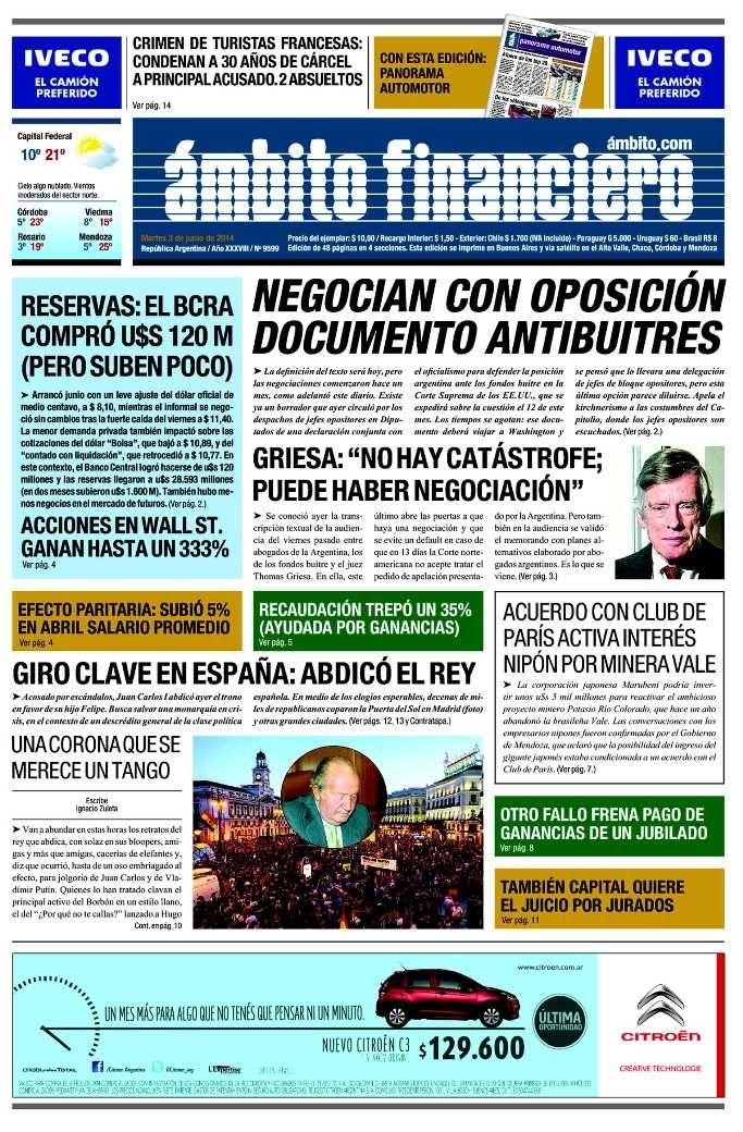 3 de junio - Ámbito - Semáforo verde para la oposición
