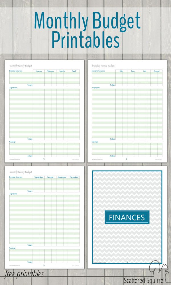 Monthly Family Budget Printables – Monthly Budget