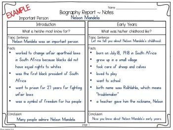 Biography Report  Informational Writing  Research Common Core