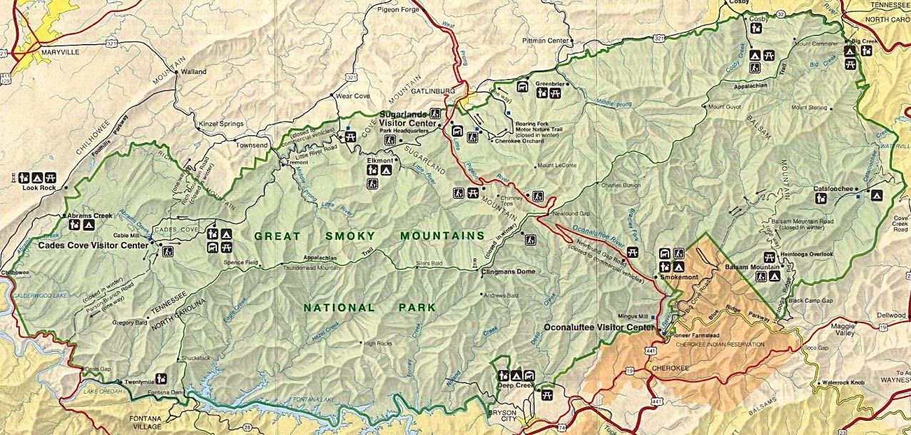 Great Smokey Mt National Park Map The one available at the rangers