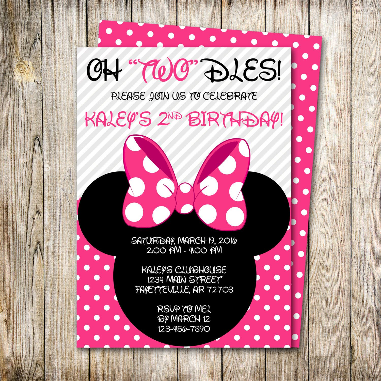 Minnie Mouse Birthday Invitation Oh Twodles Invite Mickey Disney