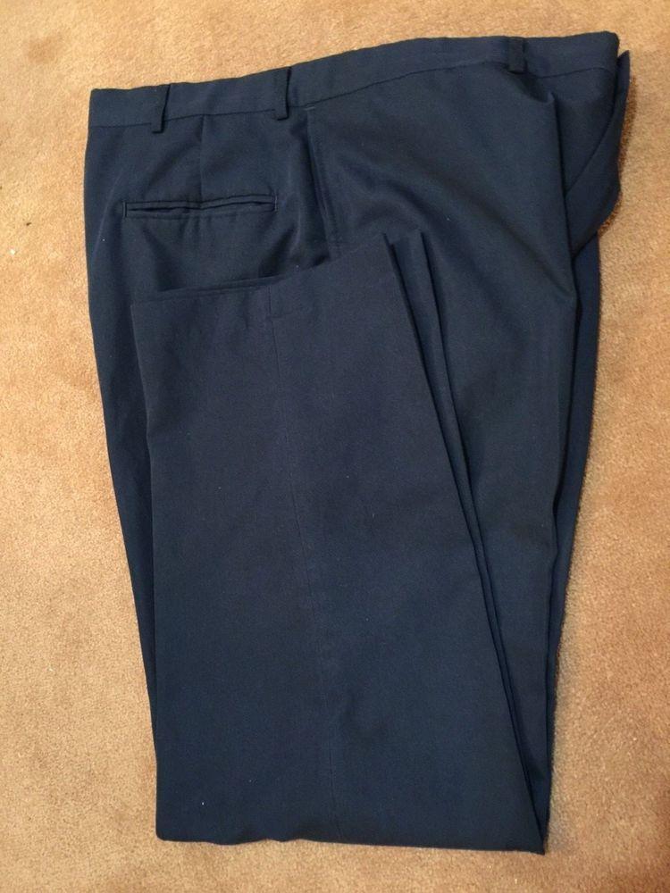 Haggar Navy Mens 38X30 Classic Dress Flat Front Pants Blue 38