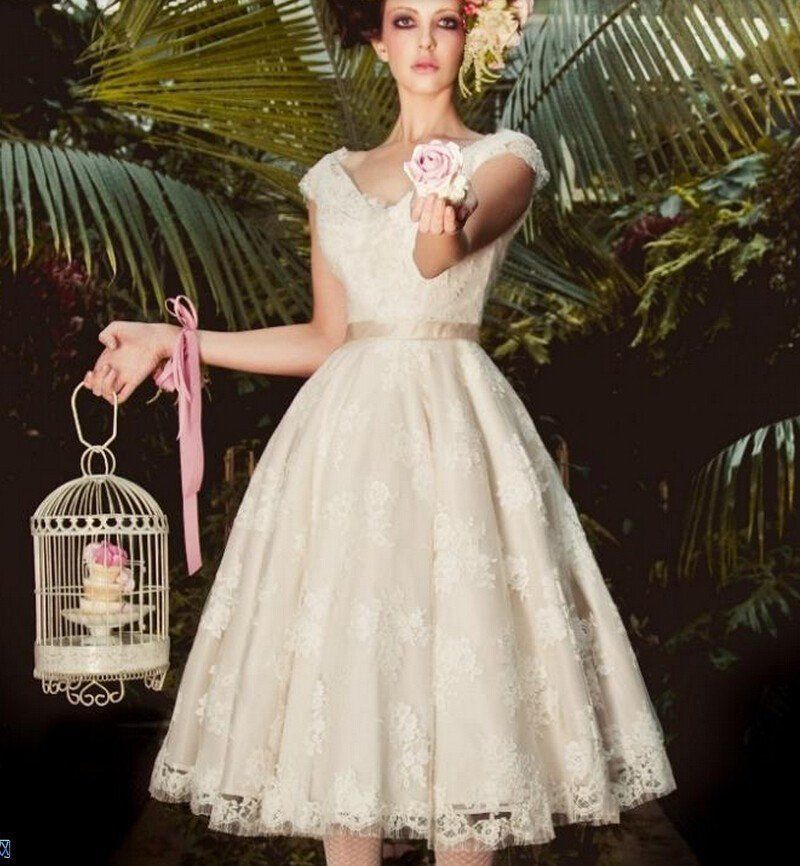 Vintage Tea Length Wedding Dress with Semi Bateau Neckline | Tea ...