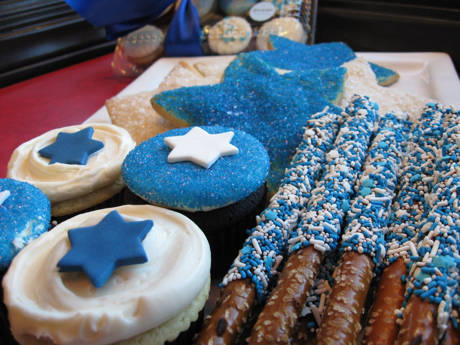 Hanukkah Cookies and Chocolate Covered Pretzels