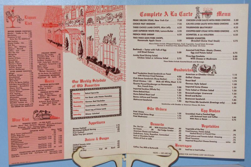 Schnitzelbank Menu C 1960s In 2019 Grand Rapids