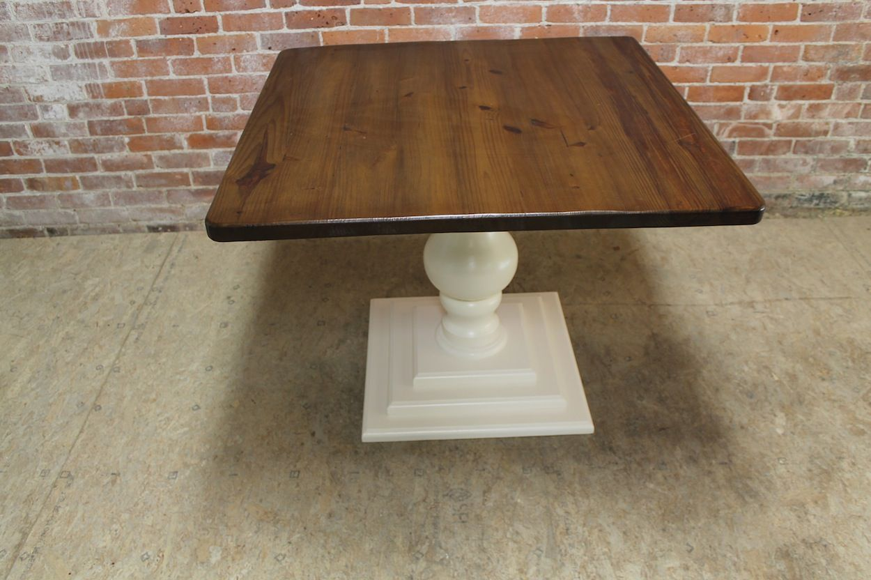 Small Reclaimed Square Pedestal Farm Tables Can Be Built With Any Of Our Tiered Bases The Elega In 2020 Square Farmhouse Table Pedestal Kitchen Table Pedestal Table