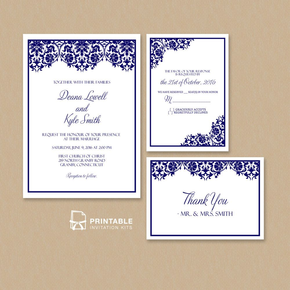 Free PDF Damask Frame Wedding Invitation Templates Set Wedding