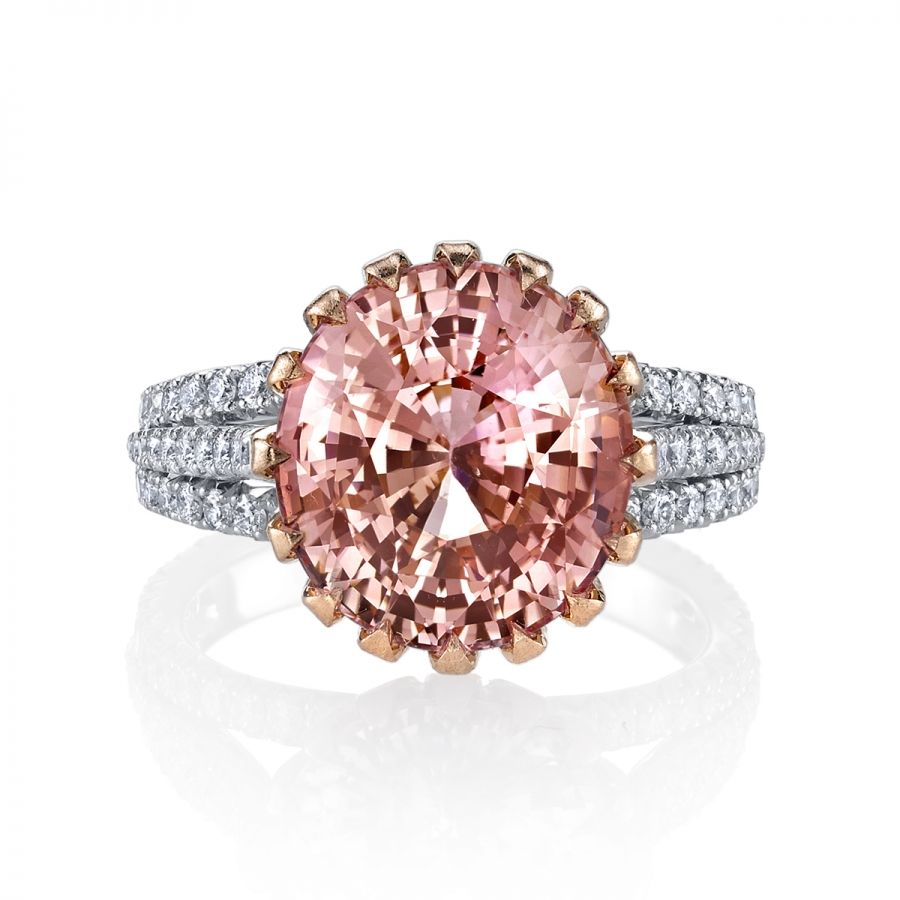 Padparadscha sapphire u diamond ring gems and metals pinterest
