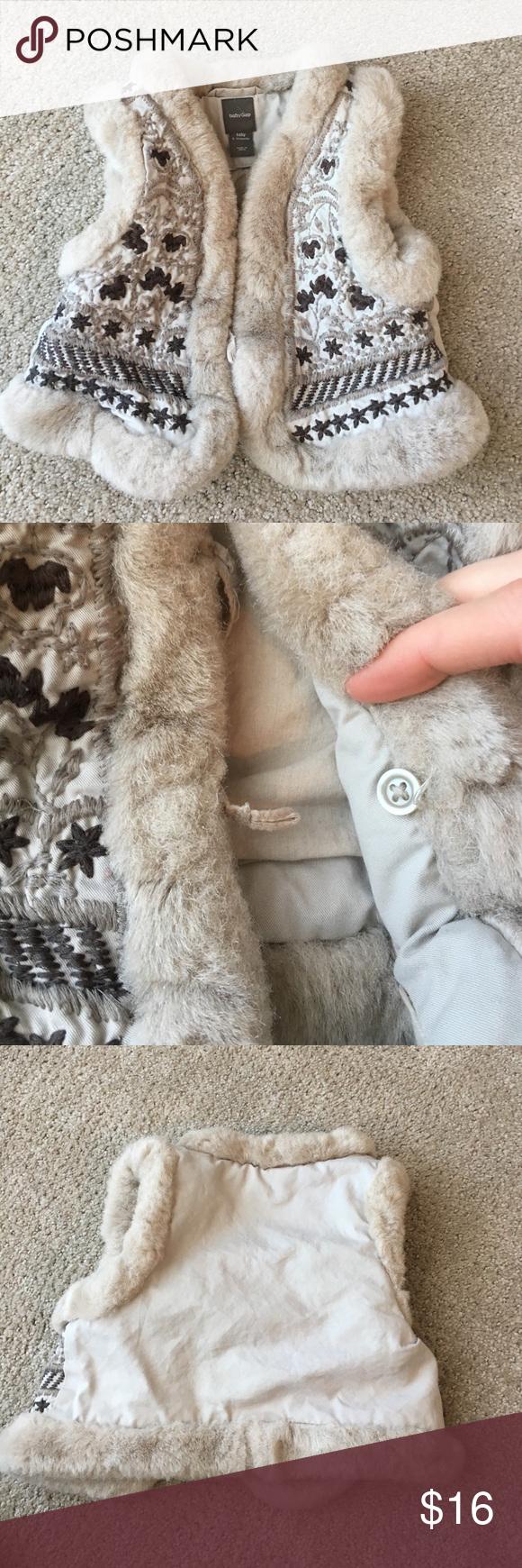 213c8e76665 Baby gap faux fur vest Super cute and cozy! Faux fur trimmed vest ...