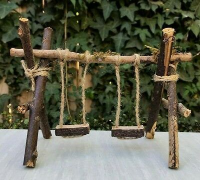 Fairy Garden Double Wooden Swing With Tags for sale online