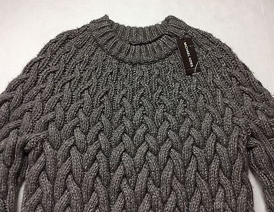 91cdca3109612f 600-Michael-Kors-Men-Wool-Yak-Super-Chunky-Heavy-Cable-Knit-Sweater -Grey-TTES
