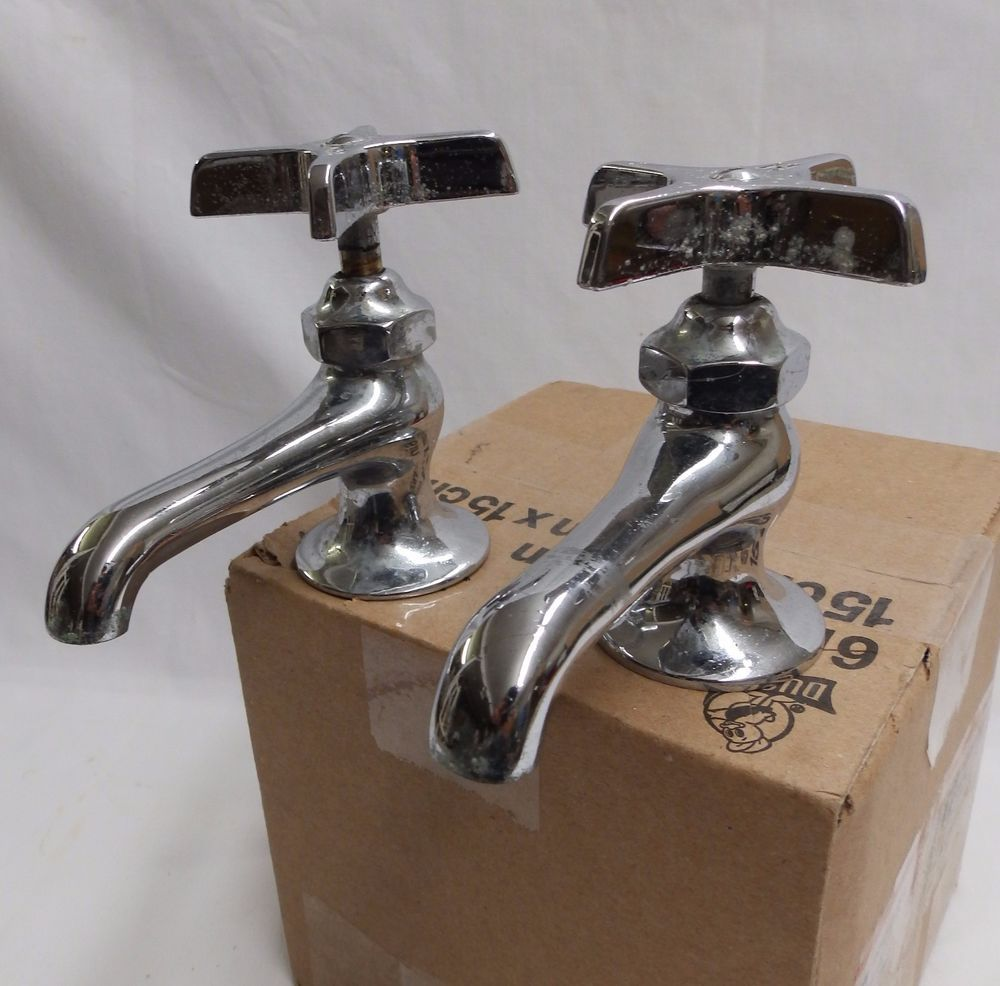Vintage Pair Wolverine Chrome Brass Separate Hot Cold Sink Faucets ...