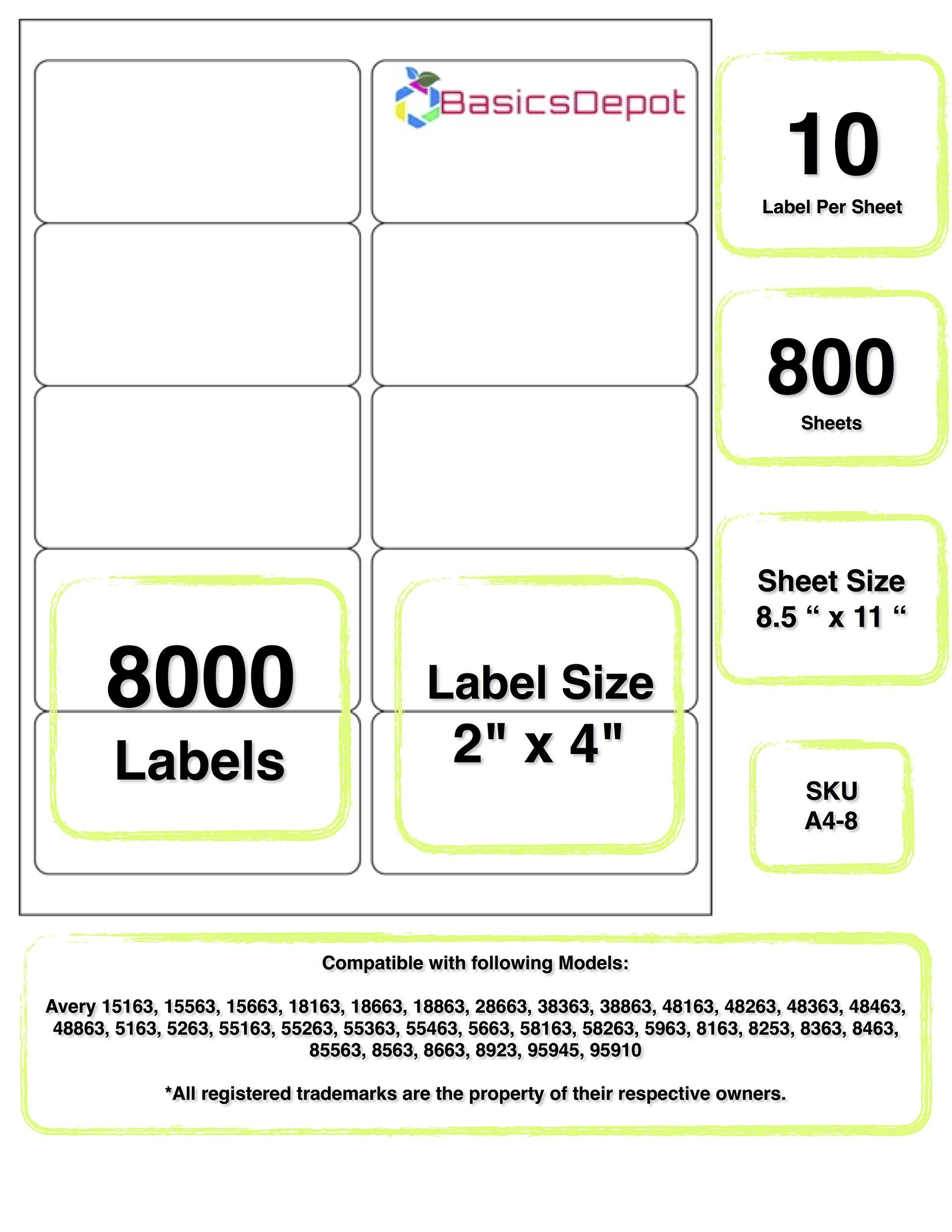 Avery 5163 Compatible 4 X 2 Inch Label Same Size As Avery 5163 10 Label Per Sheet 800 Sheet Label Templates Printable Label Templates Avery Label Templates