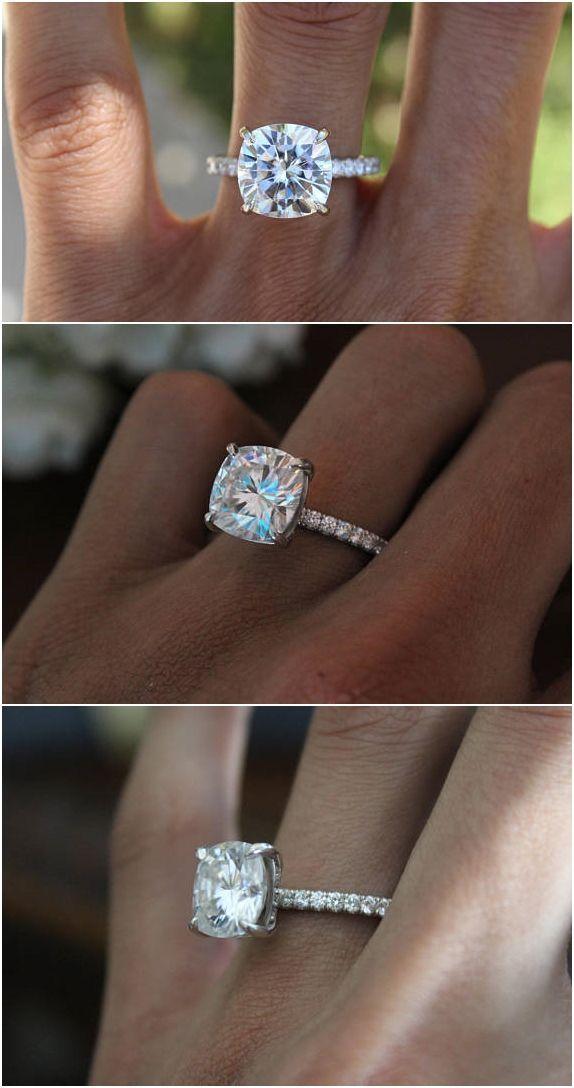 5 Carat Cushion Cut Forever One Moissanite Diamond Hidden Halo Engagement Ring 14k 18k Or Platinum Anniversary Rings For Women 5ct