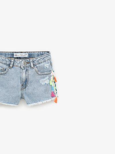 Tasseled denim shorts | Denim shorts, Shorts, Zara