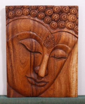 Buddha Wall Decor Hand Carved Wood Panel The Ushnisha Is A Three