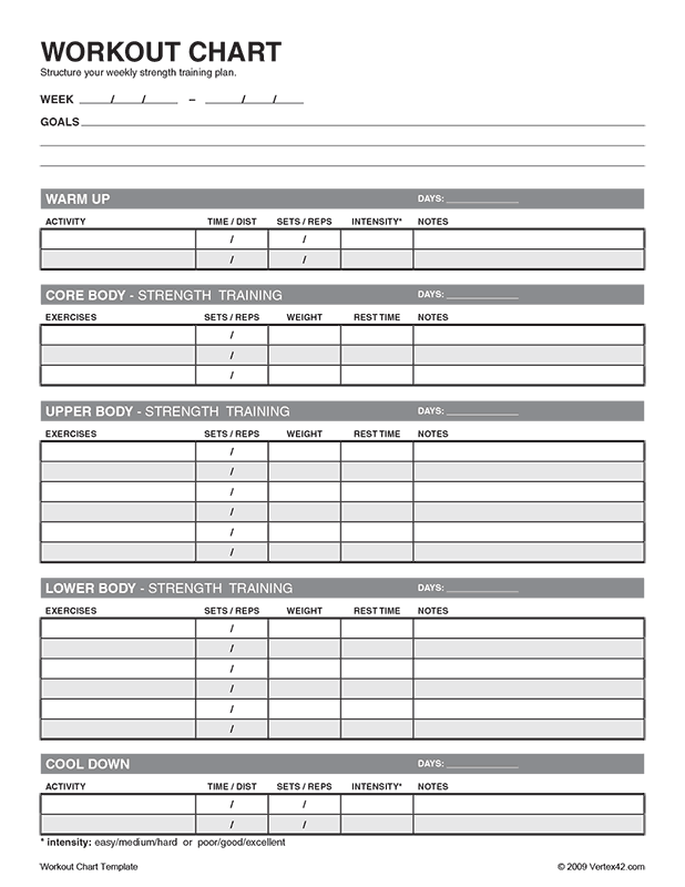 photo about Printable Workout Sheet identify No cost printable Exercise session Chart (PDF) in opposition to  Specifically