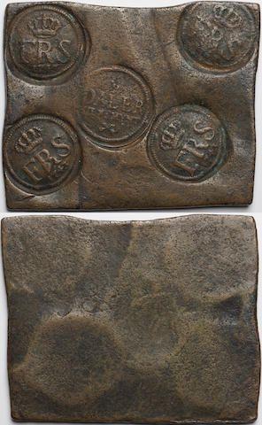 COIN, Sweden, plate money, 1/2 Daler, 1743 SILF:MYNT beneath