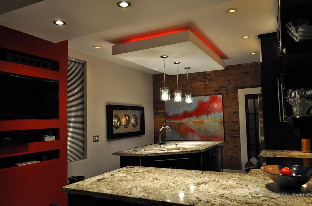 Kitchen Suspended Ceiling Design With LEDp Lighting