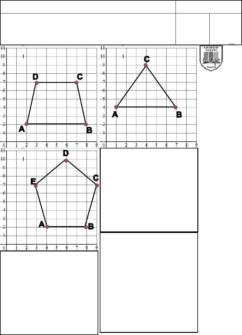Prueba de Matemáticas 4° plano de coordenadas y pares ordenados ...