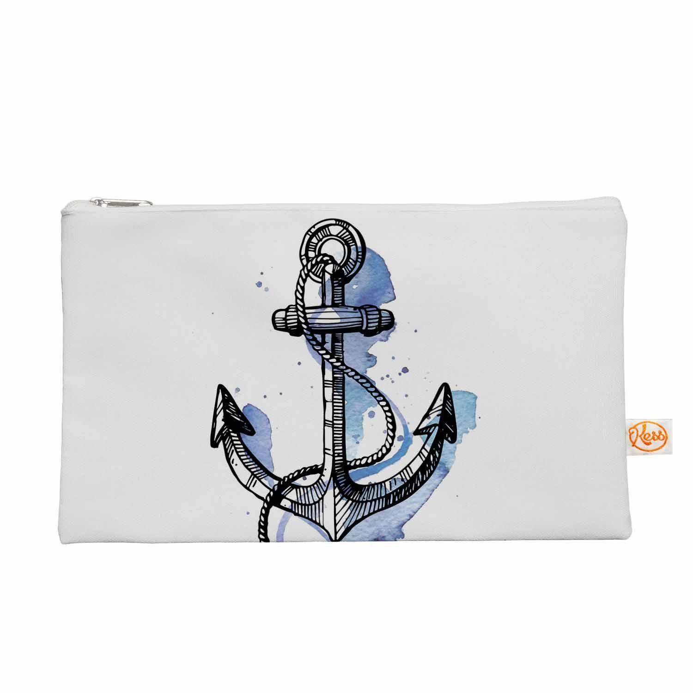 "Kess Original ""Anchor Watercolor "" Blue White Everything Bag"