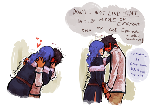 it takes juvia one thing to make gray fullbuster a complete, utter big baby: give him surprise smooches after coming back from her missions (preferably, when he's inside the guild)