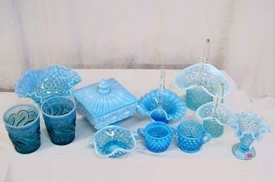White milk glass plus different sized blue milk glass = floral perfection!