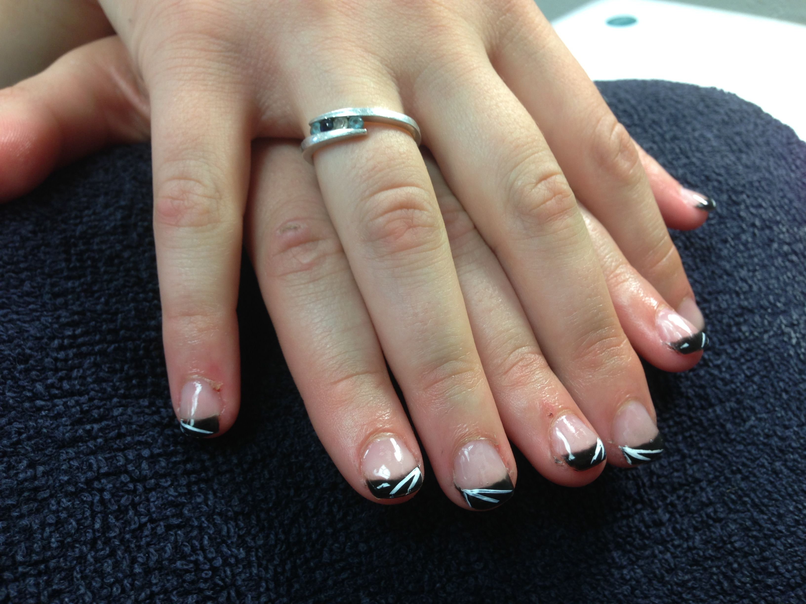 Rain\'s nails. Black tips with white lines. Gel nail art. - Nails I ...