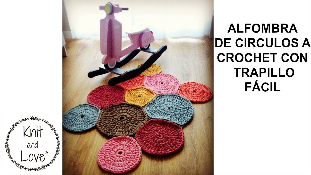 Alfombra de circulos de trapillo f cil beads crochet - Alfombra trapillo facil ...