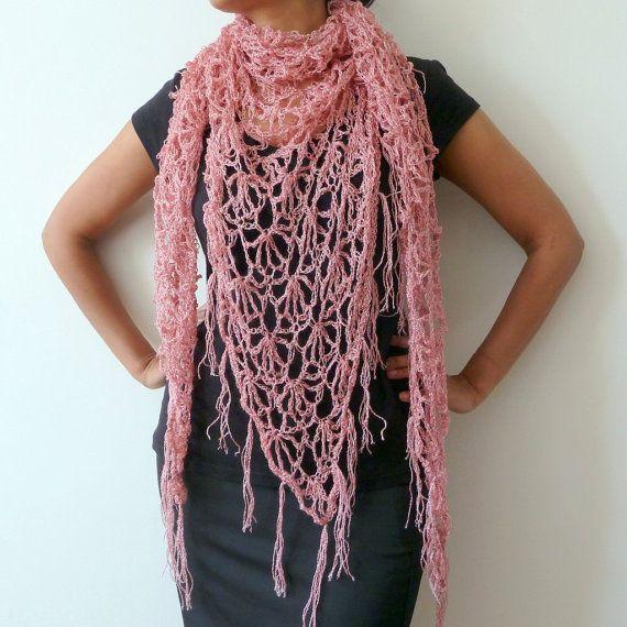 Lace Crochet Shawl Pink Lacy Wrap