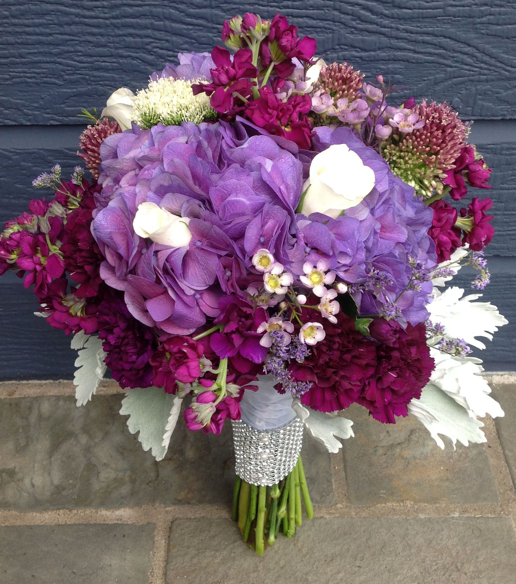 Wedding Flowers Lincoln: Bridal Bouquet Designed Using Purple Hydrangea, White