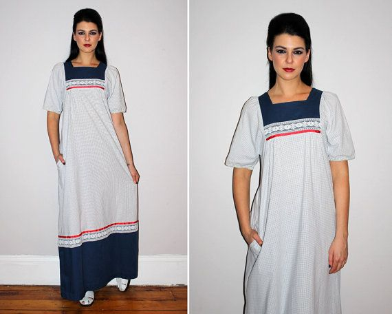 Vintage 70s Hawaiian MuuMuu / Grid Print Maxi Dress / Navy Blue + ...