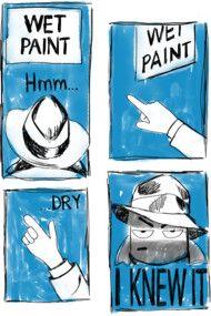 Funny Wet Paint Detective