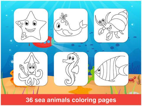 Tabbydo Sea animals color book - Underwater sea animals coloring ...