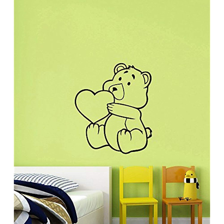 Cute Teddy Bear Heart Wall Sticker Removable Vinyl Decal Cartoon