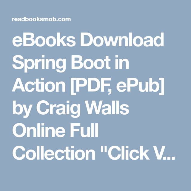Ebooks Download Spring Boot In Action Pdf Epub By Craig Walls