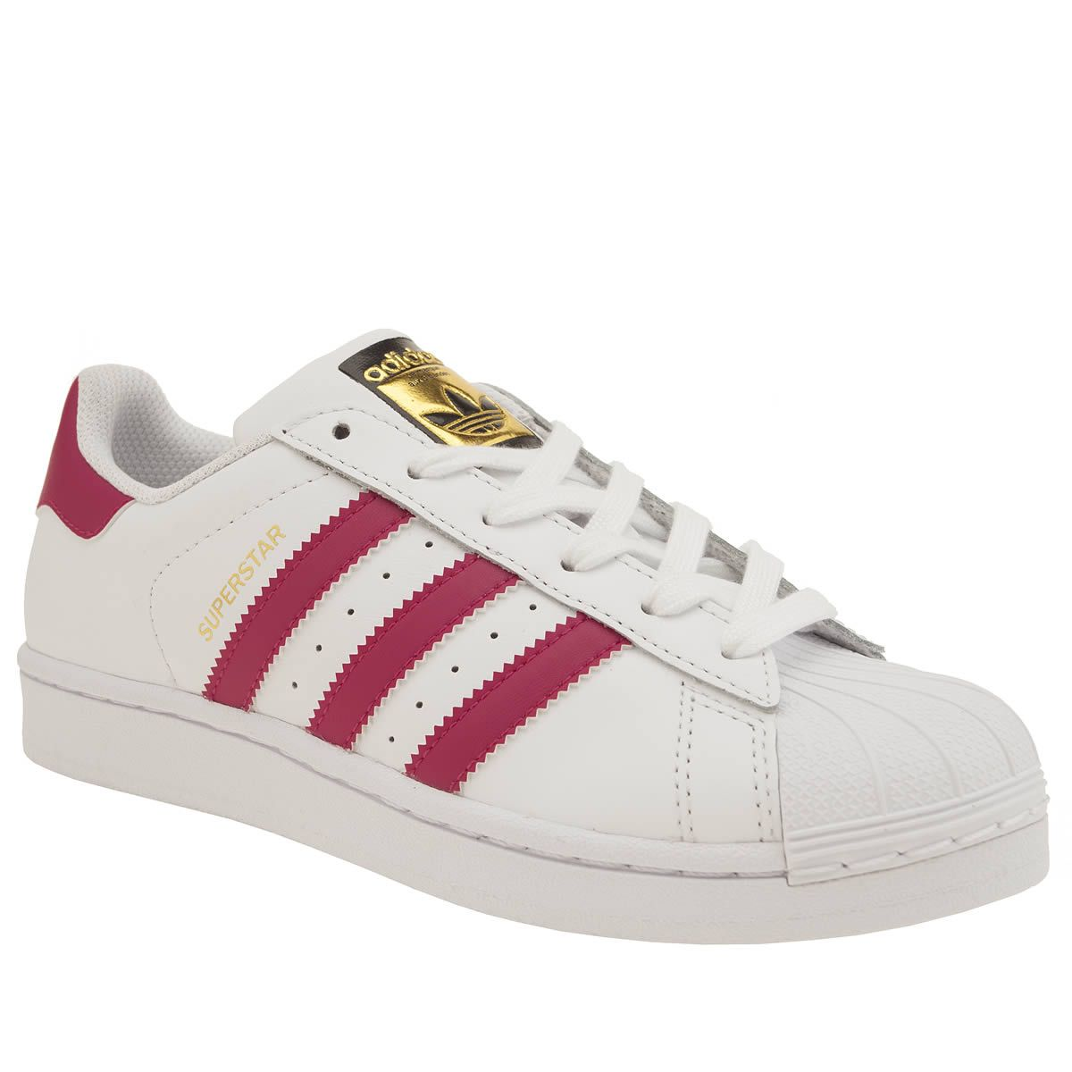 kids adidas white & pink superstar girls youth