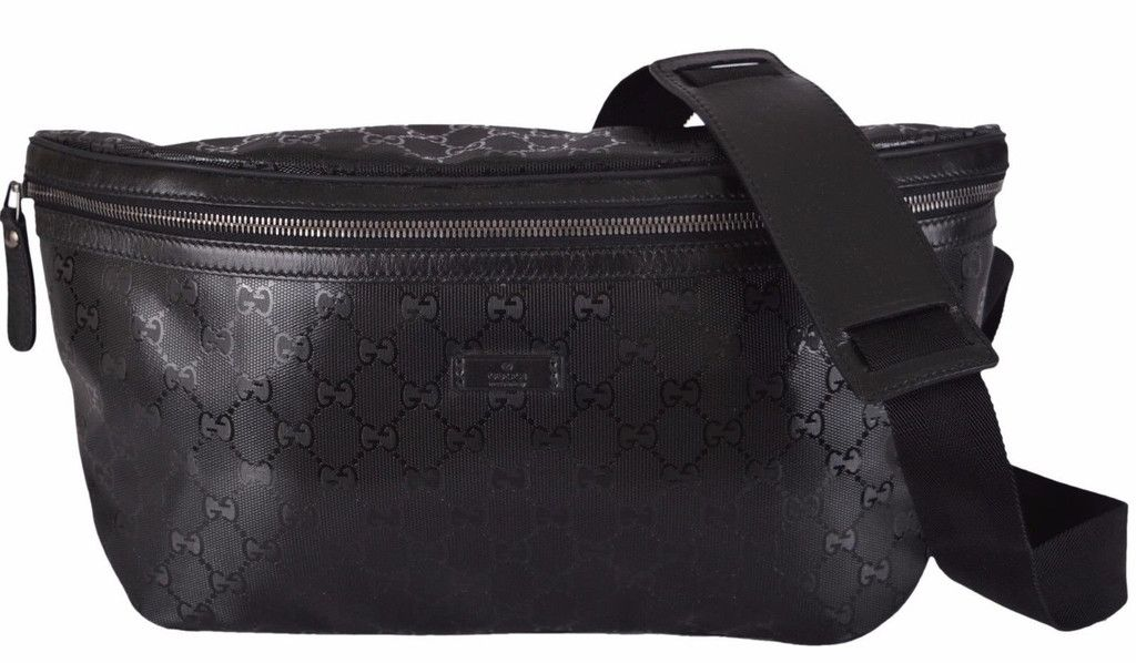f17beacf6a07 NEW Gucci Men's 211110 Black GG IMPRIME Body Bag Fanny Pack Waist Sling