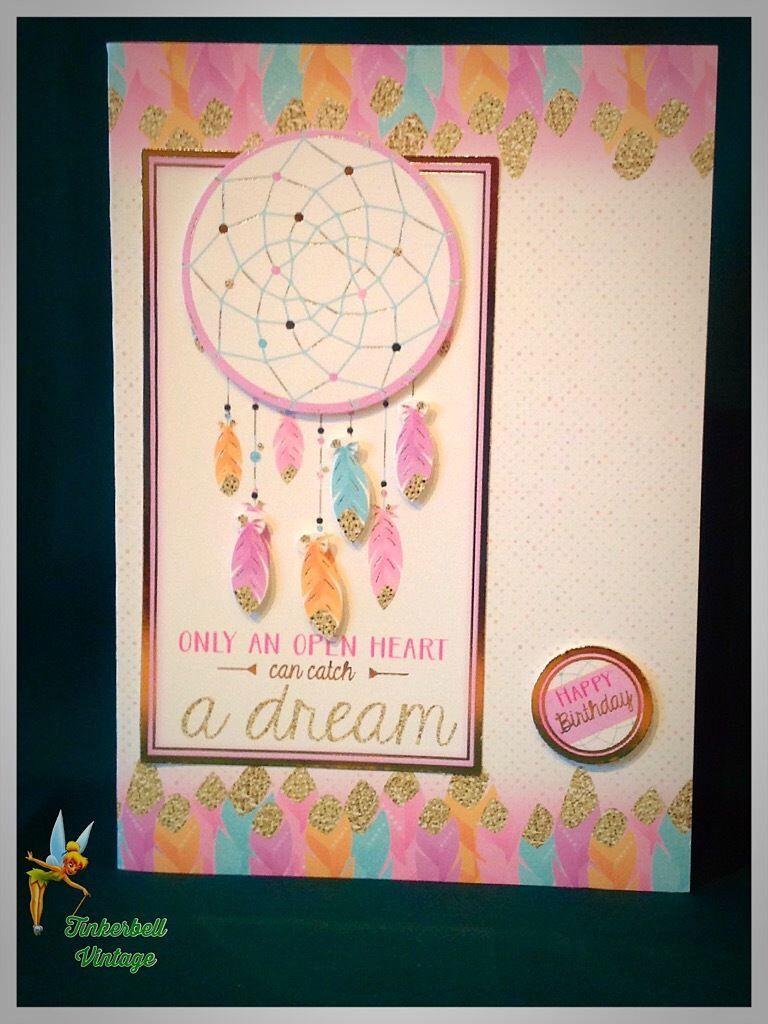 Birthday card handmade greeting card native american dreamcatcher