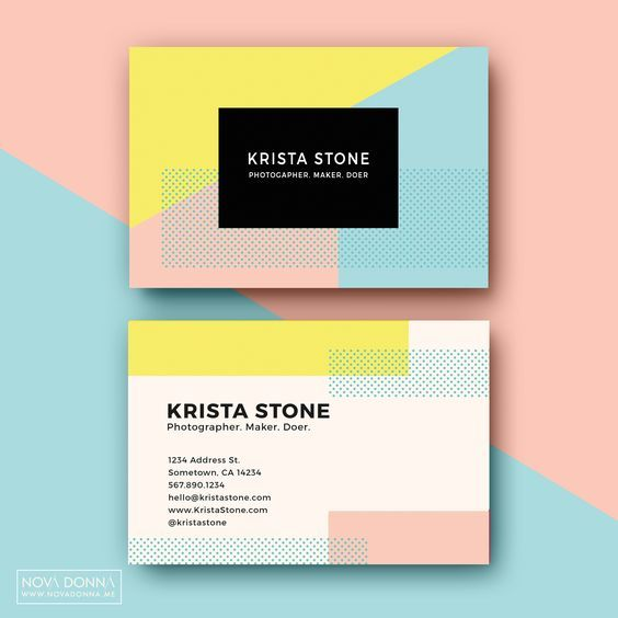 Get Colorful And Girly With This Fun Layout Graphic Design Business Card Business Card Template Design Name Card Design