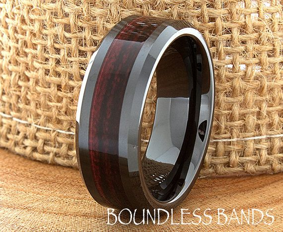 Mens Wedding Band 8mm Black Tungsten Ring Wood Inlay Grain Pattern Laser  Engraved Dome Comfort Fit