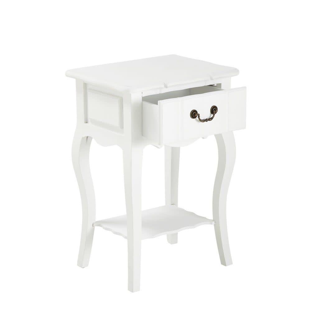 Table De Chevet Avec Tiroir En Bois De Paulownia Blanche L 44 Cm Josephine Maisons Du Monde Tiroir Bois Table De Chevet Table De Chevet Blanche