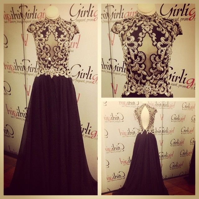Stunning Black Gown with Beautiful AB Beading. Sheer Bodice with Chiffon Skirt.