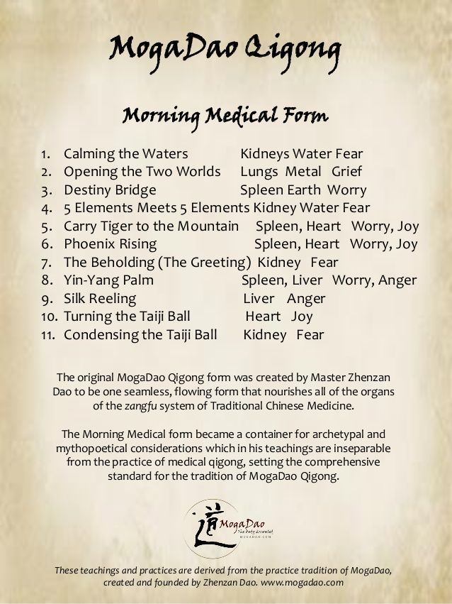 MogaDao Qigong Morning Medical Form 1 Calming the Waters Kidneys - medical form