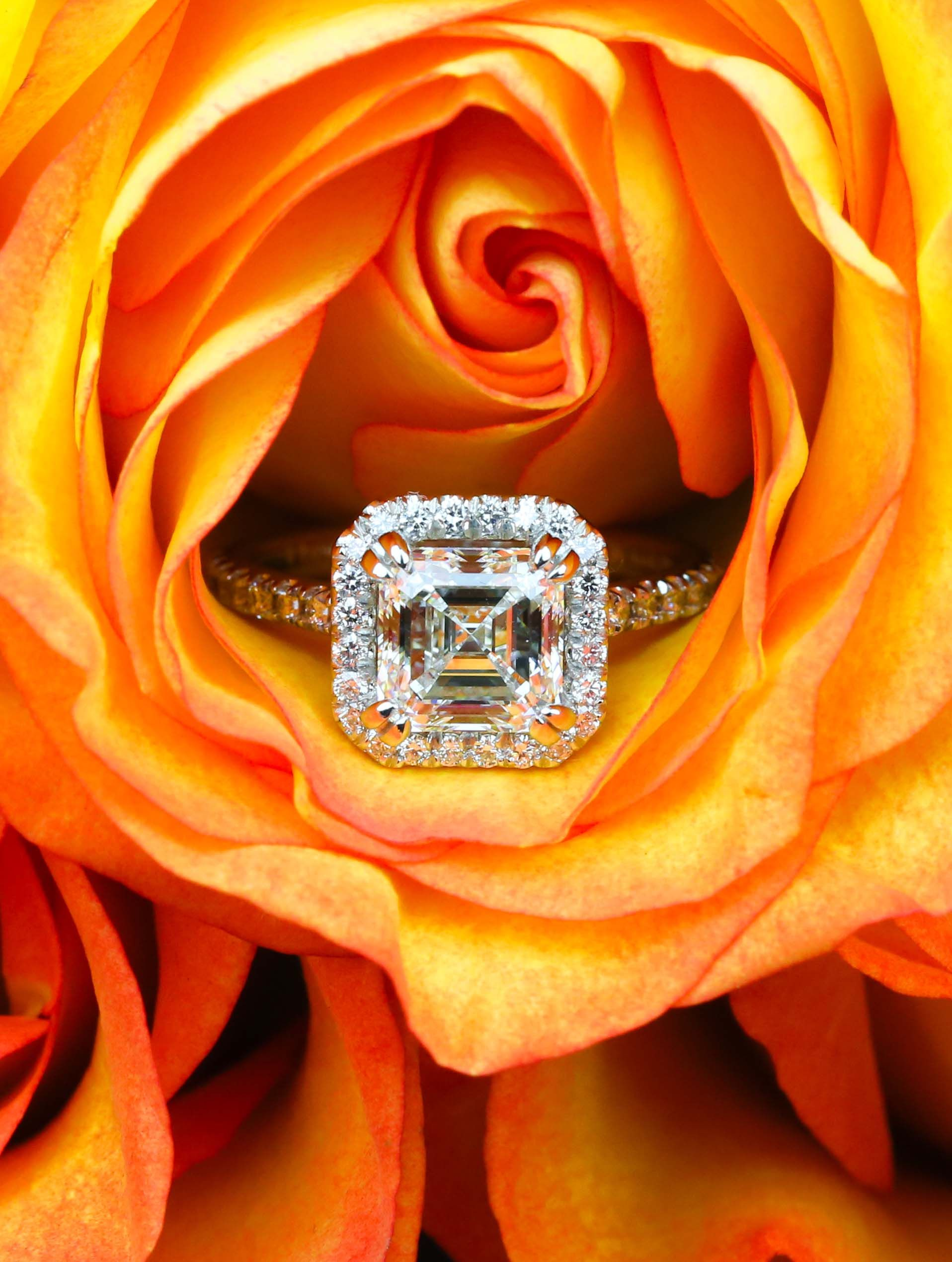 34ba538c4 A beautiful Petite Halo 2.00 Carat Asscher Diamond Engagement Ring from our  recently purchased collection! Click through to see pricing and more  details!